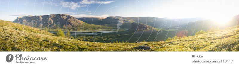 Rappadalen-Wildnis-Panorama, Sarek Himmel Natur Ferien & Urlaub & Reisen Sommer blau grün Landschaft Erholung ruhig Ferne Berge u. Gebirge natürlich Ausflug