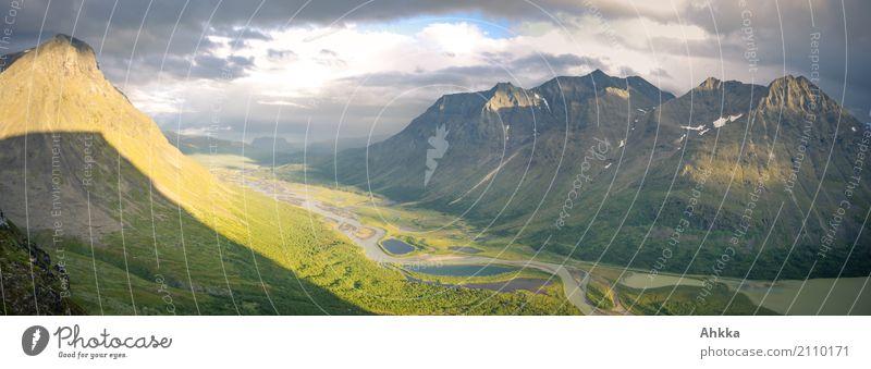 Tal mit bunten Seen im Panorama, Sarek, Schweden Landschaft Berge u. Gebirge Leben Wege & Pfade Glück Zufriedenheit wild Abenteuer Zukunft lernen fantastisch