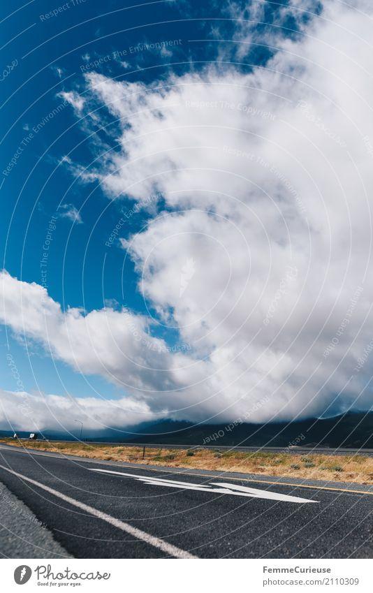 Roadtrip West Coast USA (186) Natur Verkehr Verkehrswege Straßenverkehr Bewegung Wolken beeindruckend Pfeil Westküste Kalifornien Autobahn Seitenstreifen
