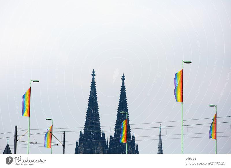 Köln feiert den CSD Veranstaltung Feste & Feiern Christopher Street Day Dom Kölner Dom Wahrzeichen Zeichen Fahne Regenbogenflagge regenbogenfarben Erfolg