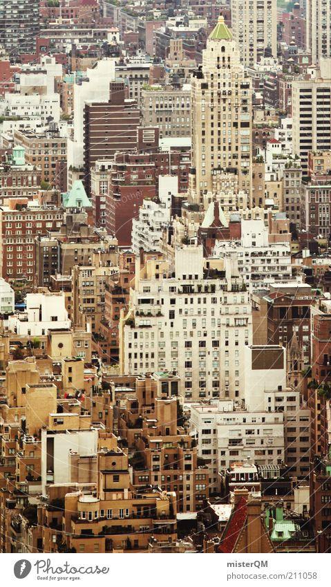 Häusermeer. Haus ästhetisch chaotisch Design Einsamkeit einzigartig Endzeitstimmung Größe viele Hochhaus New York City Millionen Dach Fenster eng bebauen