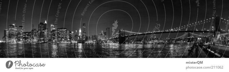 New York - Black Lights. Ferien & Urlaub & Reisen Hochhaus Brücke ästhetisch Reisefotografie Nachthimmel Skyline Poster Fernweh New York City Manhattan Panorama (Bildformat) Kunst Brooklyn Kunstwerk