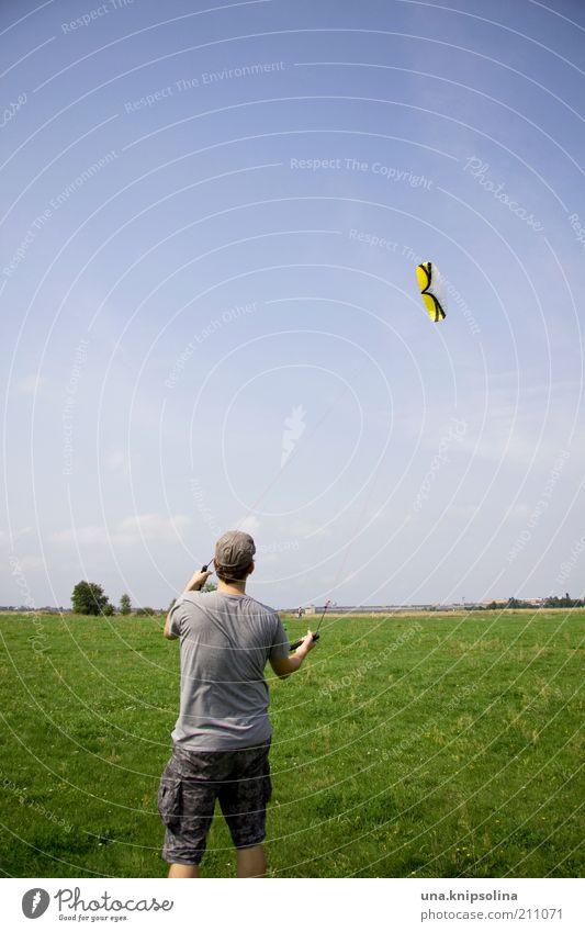 lenkmatte Mensch Mann Jugendliche Erwachsene Junger Mann Wiese Sport Spielen Bewegung Freiheit 18-30 Jahre Park fliegen maskulin Wind Freizeit & Hobby