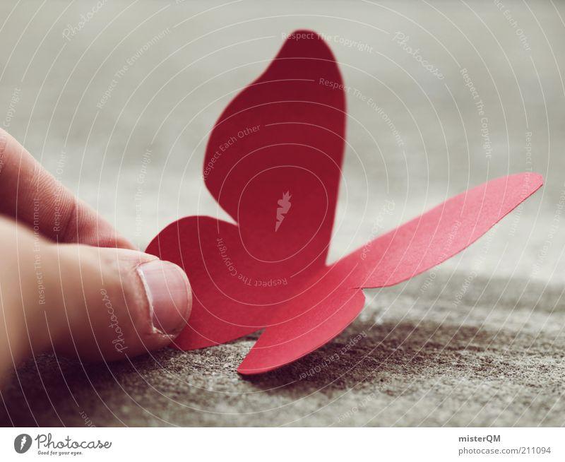 Once Touched It Never Gets Off The Ground. rot Tier Zufriedenheit elegant fliegen Finger Kindheit ästhetisch Papier einzigartig Neugier Symbole & Metaphern Kreativität Schmetterling Idee Surrealismus