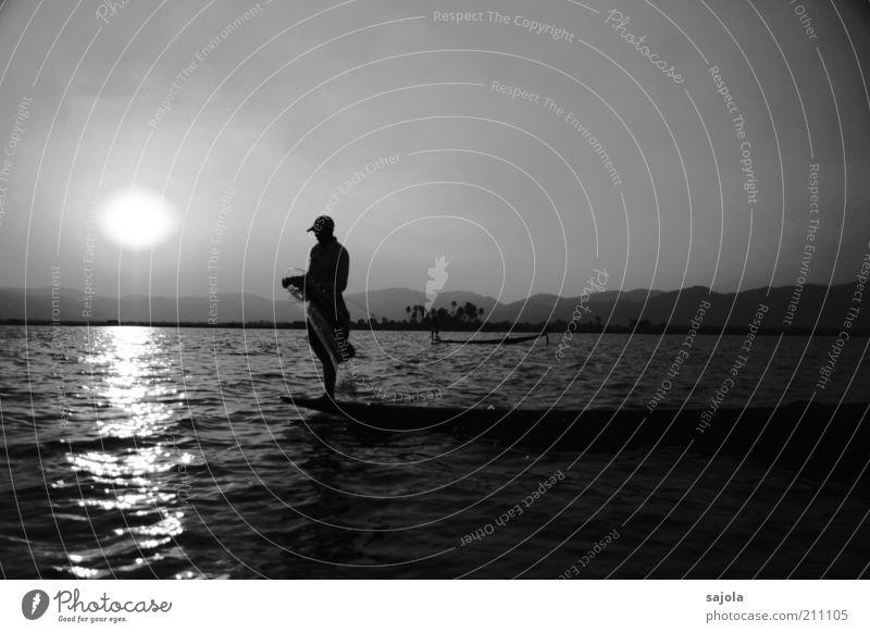 fisherman Mensch Mann Natur Wasser Himmel Sonne ruhig See Landschaft Zufriedenheit Erwachsene maskulin Umwelt ästhetisch Tourismus stehen