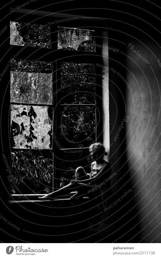 Einsamkeit nach einer Katastrophe Mensch feminin Junge Frau Jugendliche Körper 1 18-30 Jahre Erwachsene Bauwerk Fenster trist Stadt grau Traurigkeit bizarr