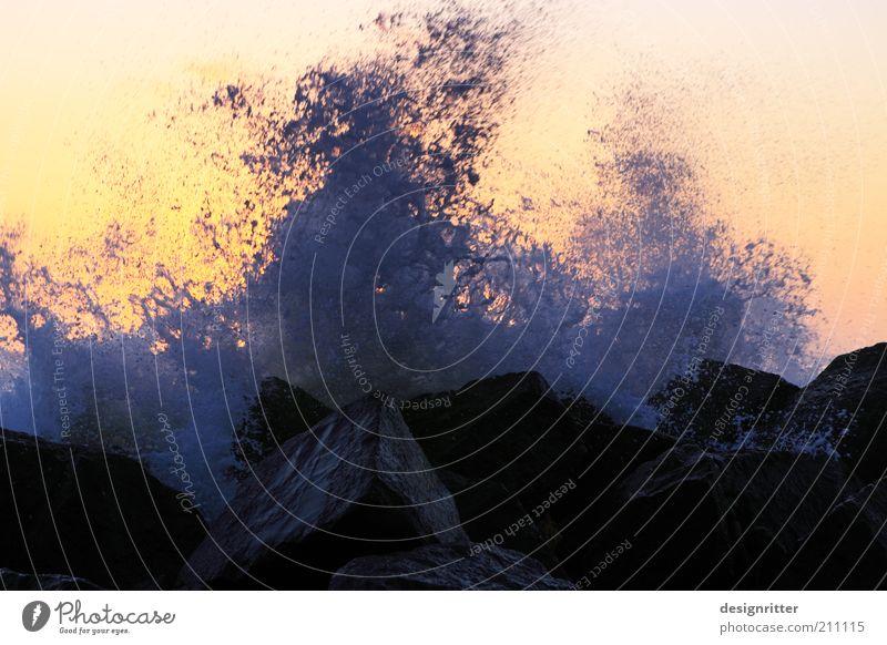 Lebendiges Wasser blau Strand gelb Kraft Küste Wellen gold frisch gefährlich bedrohlich Klima wild Gewalt stark Seeufer