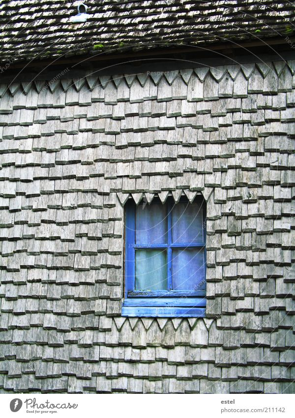 Secret Window - Das geheime Fenster alt blau Fenster Holz grau klein Glas Fassade Europa Dach Kultur niedlich Frankreich Bauwerk historisch Geborgenheit