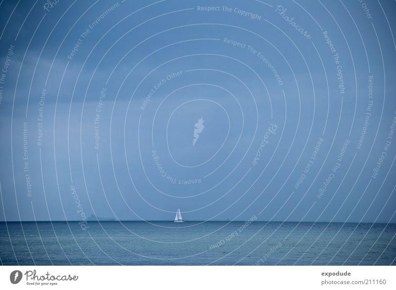 Segelboot vor Horizont Himmel Natur Wasser Ferien & Urlaub & Reisen Sommer Meer Ferne Erholung Umwelt Landschaft Freiheit Stil träumen Freizeit & Hobby Ausflug