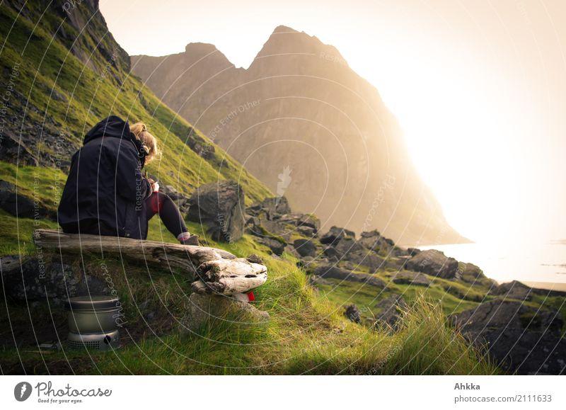 Junge Frau schreibt an der Küste im Sonnenuntergang harmonisch Sinnesorgane Erholung ruhig Meditation Abenteuer Jugendliche Felsen Gipfel Meer Polarmeer Lofoten