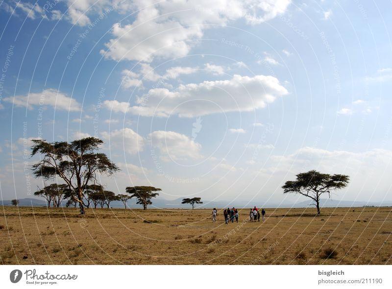 Weite Ferne Freiheit Safari wandern Mensch Menschengruppe Himmel Wolken Baum Steppe gehen ruhig Crescent Island Kenia Afrika Farbfoto Außenaufnahme