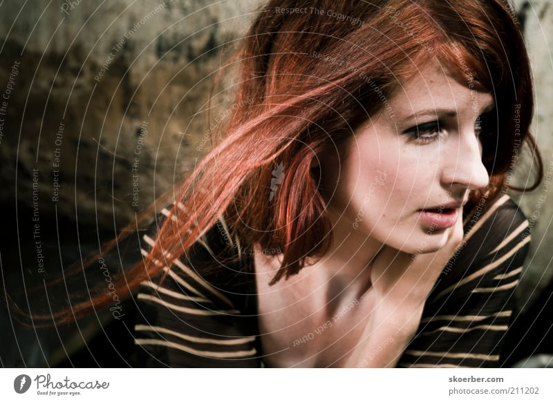 Das Mädchen vom Schrottplatz 3 Frau Mensch Jugendliche schön Gesicht dunkel feminin Wand Haare & Frisuren Mauer dreckig Erwachsene Fassade nah natürlich