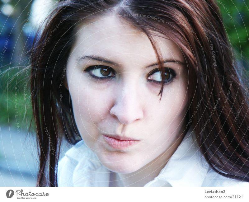 J.S.H. - 'Hm?' Frau Gesicht Denken lustig verrückt Grimasse Gesichtsausdruck