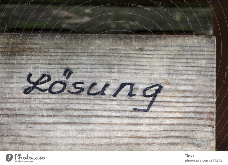 Lösung dunkel Holz Schilder & Markierungen Kommunizieren Schriftzeichen Spielzeug entdecken Holzbrett Symbole & Metaphern Problemlösung Maserung Antwort