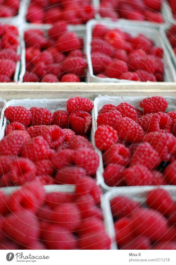 Himbeeren Lebensmittel Frucht Ernährung Bioprodukte Vegetarische Ernährung frisch Gesundheit klein lecker saftig süß rot Wochenmarkt Marktstand Beeren