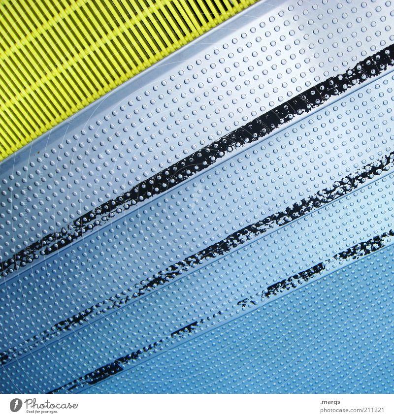 Pool Lifestyle elegant Freizeit & Hobby Schwimmbad Wasser Treppe Linie Streifen Punkt außergewöhnlich einfach frisch trendy blau gelb Perspektive Farbfoto
