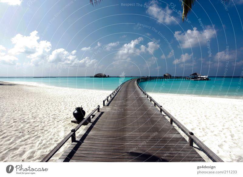 Paradies Natur Landschaft Sand Luft Wasser Himmel Sommer Schönes Wetter Strand Meer Menschenleer Hütte Brücke Holz exotisch hell natürlich Sauberkeit blau Glück