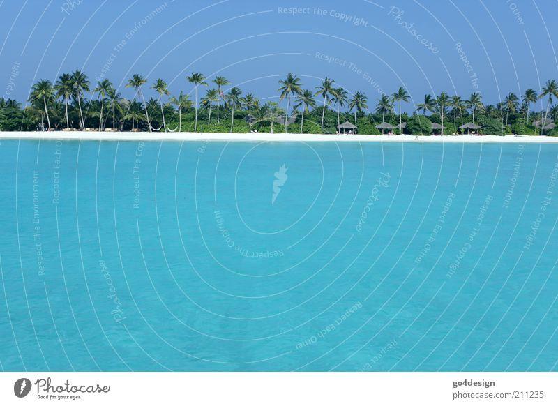 Turquoise Landschaft Pflanze Sand Luft Wasser Himmel Sommer Schönes Wetter Küste Meer Menschenleer Hütte Ferien & Urlaub & Reisen blau grün weiß schön ruhig