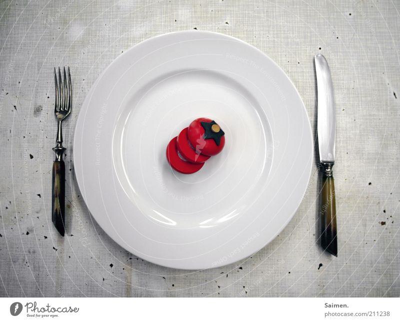 für taretz, steffne und john krempl weiß außergewöhnlich Ernährung Lebensmittel Speise Appetit & Hunger Geschirr Teller Messer Diät Mittagessen Tomate wenige Gemüse Besteck Gabel