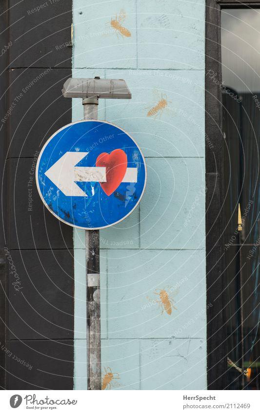One way love Verkehrszeichen Verkehrsschild Metall Herz Pfeil lustig Stadt Einbahnstraße Liebe Eros Cupido Verliebtheit durchbohrt Liebespfeil Hoffnung
