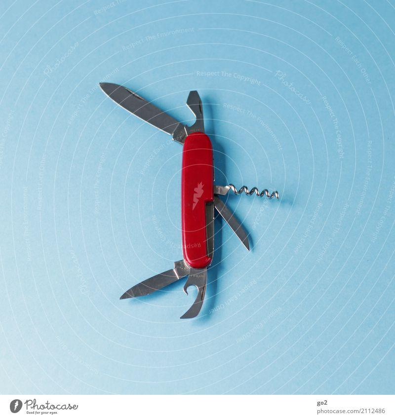 Multifunktionsmesser, offen blau rot Metall gefährlich bedrohlich Scharfer Gegenstand Handwerk Messer Werkzeug silber Handwerker praktisch aufklappen