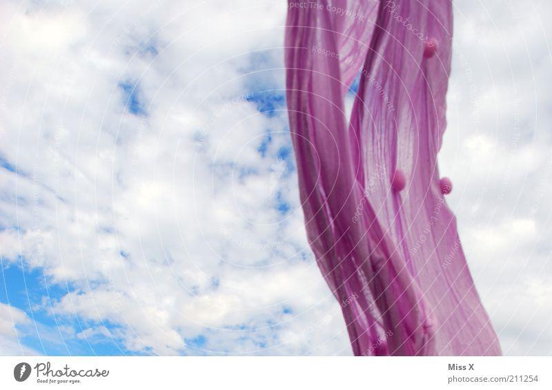windig Himmel Freiheit Wind frei violett Stoff Schönes Wetter Tuch wehen Schal Natur fliegend Kopftuch luftig hängend Wolkenhimmel