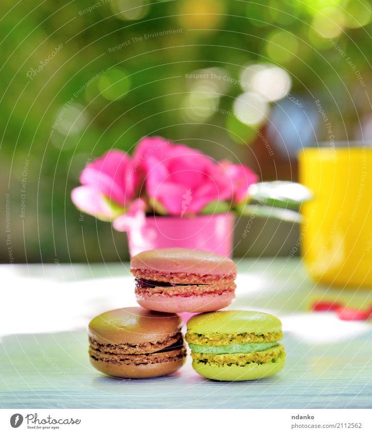 bunte Makronen Dessert Süßwaren Tasse Tisch Blume Holz Essen hell braun gelb grün rosa weiß Macaron Biskuit Roséwein Lebensmittel geschmackvoll sonnig