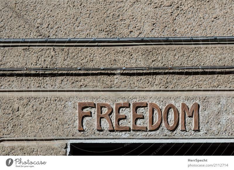 Dom der Freien Haus Bauwerk Gebäude Mauer Wand Fassade Schriftzeichen braun Englisch Aufschrift Freiheit Freedom Kabel Linie Farbfoto Gedeckte Farben