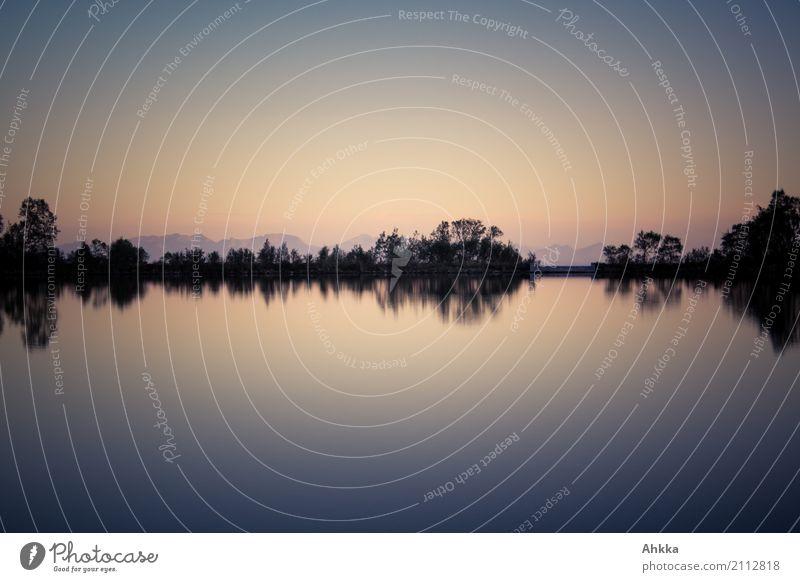 Absolute Stille harmonisch Wohlgefühl Zufriedenheit Erholung ruhig Meditation Landschaft Wasser Himmel Wolkenloser Himmel Seeufer Lofoten Stimmung Weisheit