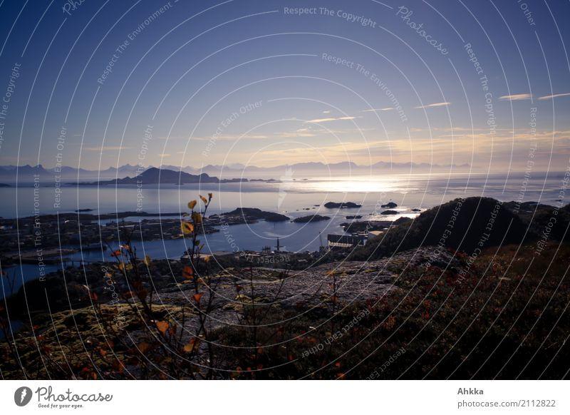 Märchenküste Landschaft Horizont Klima Felsen Meer Lofoten Norwegen dunkel exotisch Zusammensein gigantisch maritim schwarz Optimismus Sehnsucht Fernweh