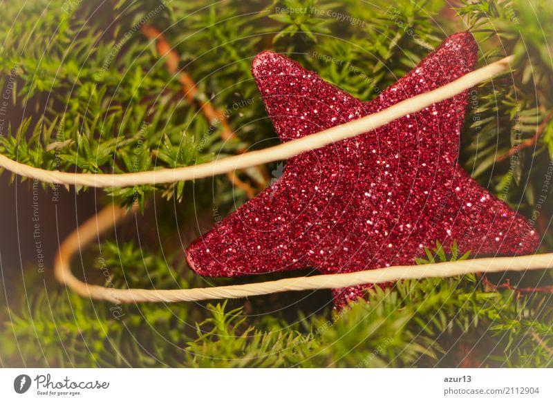 Roter Winter Stern funkelt an Weihnachten als Advent Dekoration Weihnachten & Advent schön grün rot Lifestyle gelb Innenarchitektur Liebe Gefühle Glück Kunst