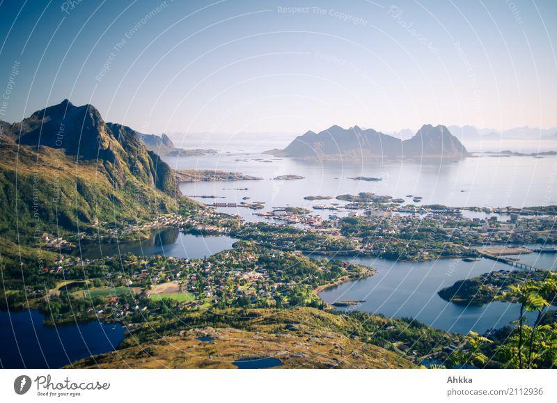 Svolvær, Norwegen, Sommer, Urlaub, Panorama, Archipel Ferien & Urlaub & Reisen blau grün Landschaft Meer Ferne Küste außergewöhnlich Tourismus Freiheit