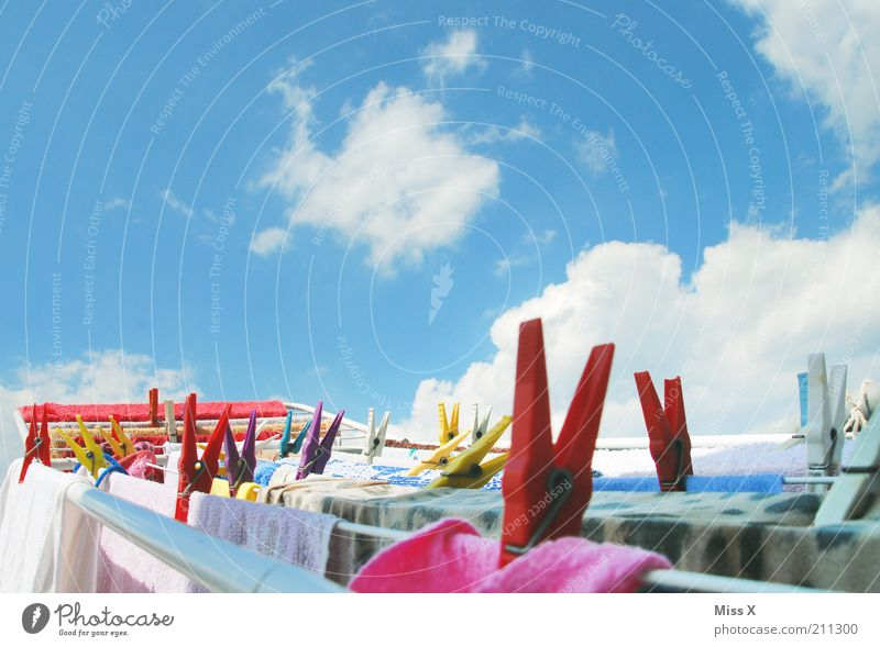 Sommerfrische Himmel Wolken Schönes Wetter Bekleidung Duft nass Sauberkeit trocken Reinlichkeit Reinheit rein Wäscheklammern Wäsche waschen trocknen sommerlich