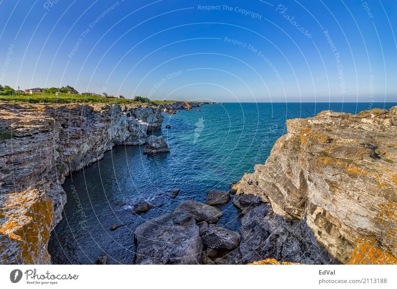Himmel Natur Ferien & Urlaub & Reisen blau Sommer Farbe Landschaft Meer Erholung Küste Stein Felsen Aussicht Europa Höhe Klippe