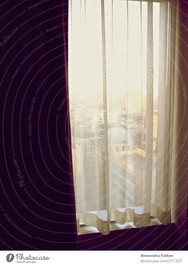 Zimmer mit Aussicht Fenster Einsamkeit Gaze Vorhang Gebäude New York City Manhattan East Village Kuppeldach Falte Faltenwurf Hotelzimmer Fensterbrett Farbfoto