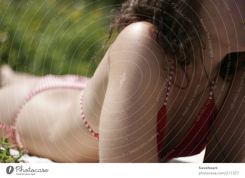 Mensch Natur Jugendliche grün schön rot Pflanze Sonne Sommer Erotik Körper Haut Junge Frau Bikini Sonnenbad