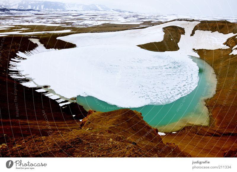 Island Umwelt Natur Landschaft Erde Eis Frost Schnee Hügel Berge u. Gebirge Vulkan See Vitikrater außergewöhnlich fantastisch kalt natürlich wild Stimmung