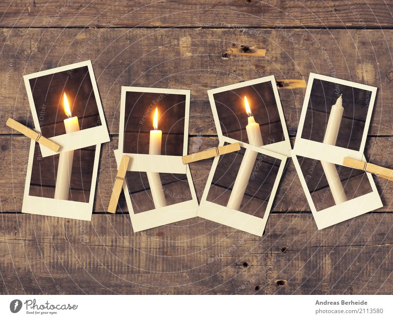 Dritter Advent Winter Weihnachten & Advent retro Tradition candlelight greeting flame card merry conceptual december fourth eve Fotograf instant photo old
