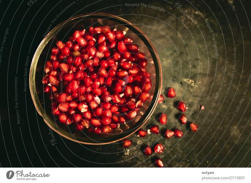Granatapfel Lebensmittel Frucht Ernährung Essen Bioprodukte Vegetarische Ernährung Diät Schalen & Schüsseln Glas exotisch frisch Gesundheit glänzend gut klein