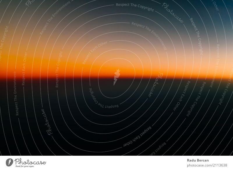 Luftbild von Ocean Sunset Himmel Natur Ferien & Urlaub & Reisen blau Sommer Farbe schön Sonne Landschaft rot Einsamkeit Ferne schwarz Umwelt natürlich oben