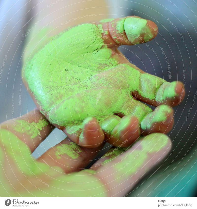 nicht nur an der Wand ... Mensch Kleinkind Frau Erwachsene Hand Finger 2 1-3 Jahre 30-45 Jahre authentisch außergewöhnlich einzigartig grau grün rosa Freude