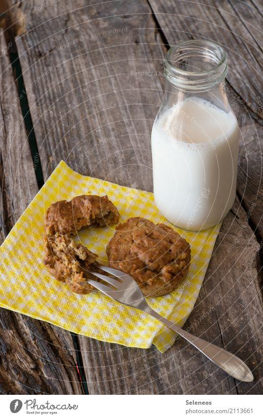 Frühstück Lebensmittel Teigwaren Backwaren Kuchen Süßwaren Muffin Ernährung Getränk Milch Flasche Gabel Essen genießen Gesundheit lecker süß Vegane Ernährung