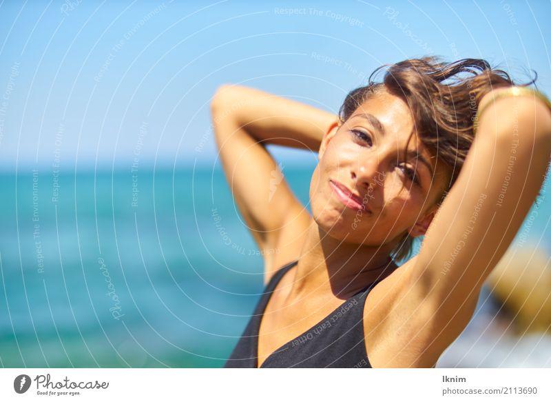 summer joy Mensch Frau Ferien & Urlaub & Reisen Jugendliche Junge Frau Sommer schön Meer Erholung ruhig 18-30 Jahre Erwachsene Leben Gesundheit feminin Glück