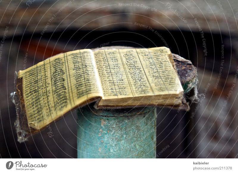 Das Buch der Bücher alt gelb dunkel grau braun dreckig Buch Schriftzeichen Vergänglichkeit verfallen Medien historisch Vergangenheit Verfall Buchseite Anordnung