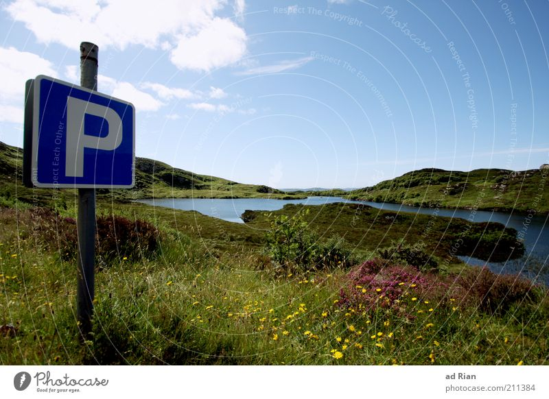 Pausenplatz [100] Natur Landschaft Wasser Gras Sträucher Hügel Seeufer Fjord Teich Blühend Farbfoto Außenaufnahme Blauer Himmel Wolken Sonnenlicht Menschenleer