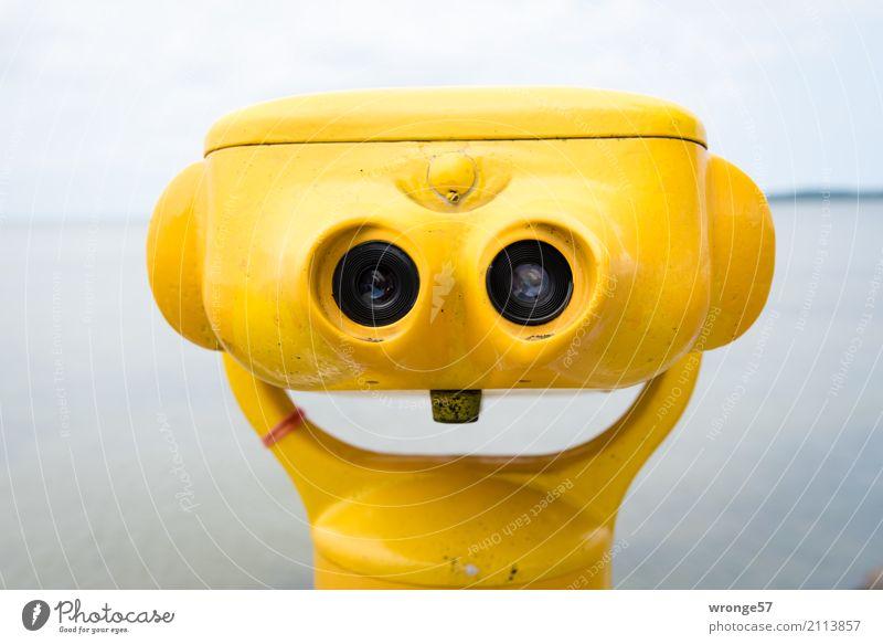 !Trash! 2017 | Immer lächeln Teleskop Fernglas Glas Metall Lächeln lachen warten lustig nah maritim gelb Ferne Ostsee Küste Farbfoto mehrfarbig Außenaufnahme