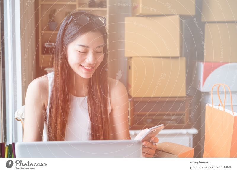 Junges asiatisches Frauenunternehmerarbeiten Erwachsene Glück Business Schule Arbeit & Erwerbstätigkeit Technik & Technologie Erfolg Computer lernen Papier
