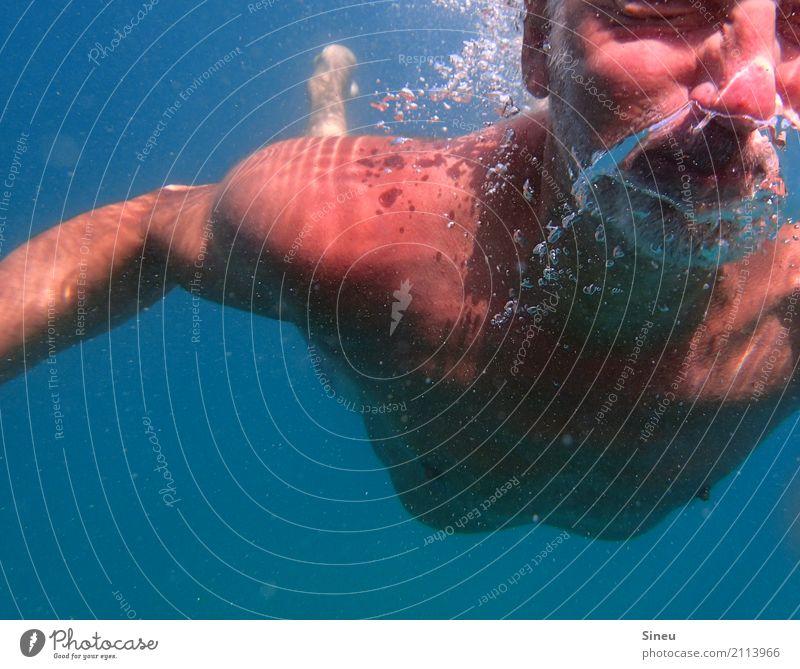 Der Mann aus dem Meer IV Ferien & Urlaub & Reisen Wassersport Schwimmen & Baden tauchen maskulin Erwachsene Gesicht Brust 1 Mensch Urelemente atmen Bewegung
