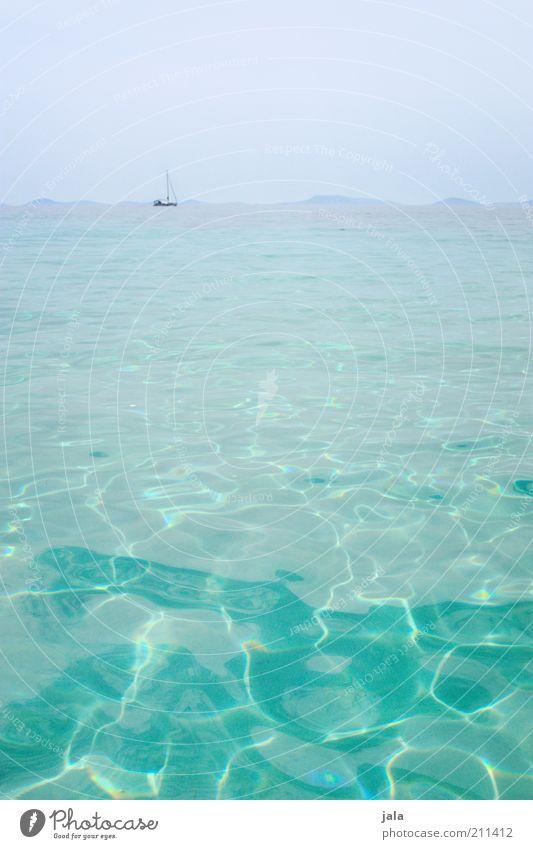 sehnsucht meer Wasser Meer Sommer Ferien & Urlaub & Reisen Ferne Erholung Freiheit hell Horizont Sauberkeit rein Klarheit türkis Schifffahrt Schönes Wetter