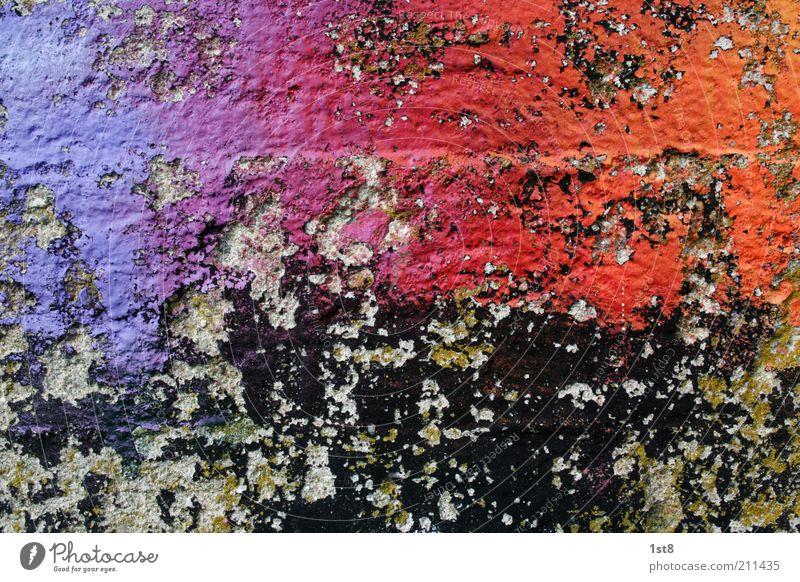 verlaufsübungen vergangener tage Kunst Kunstwerk Gebäude Mauer Wand Fassade alt glänzend ästhetisch kaputt verrückt mehrfarbig Graffiti Farbstoff Lack lackieren